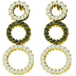 0.78 Carat (ctw) 14k Yellow Gold Round Black & White Diamond Ladies Dangling Drop Fashion Earrings
