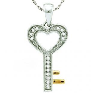 0.05 Carat (ctw) 10k White Gold Round White Diamond Ladies Heart Key Pendant