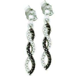 0.15 Carat (ctw) 10k White Gold Black & White Diamond Ladies Infinity Swirl Dangling Earrings