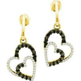 0.50 Carat (ctw) 10k Yellow Gold Round Black & White Diamond Ladies Double Heart Dangling Earrings