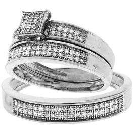 0.33 Carat (ctw) Sterling Silver Round White Diamond Men's & Women's Micro Pave Engagement Ring Trio Bridal Set