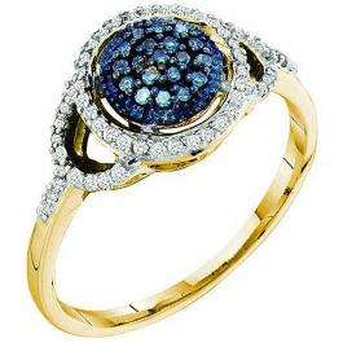 0.25 Carat (ctw) 10k Yellow Gold Blue & White Diamond Ladies Cocktail Right Hand Ring