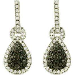 1.80 Carat (ctw) 10k White Gold Round White & Black Diamond Ladies Fashion Dangling Earrings
