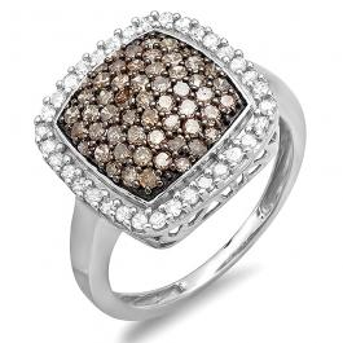 1.00 Carat (ctw) 10K White Gold Round Champagne & White Diamond Ladies Cocktail Right Hand Ring