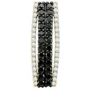 0.71 Carat (ctw) 10k Yellow Gold Round Black & White Diamond Ladies Fashion Pendant