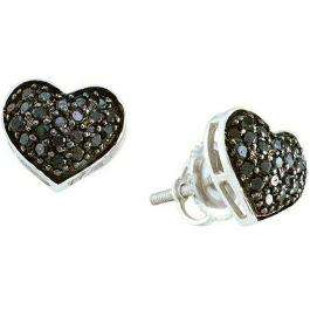 0.41 Carat (ctw) 14k White Gold Black Diamond Ladies Heart Shaped Stud Earrings