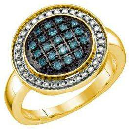 0.20 Carat (ctw) 18k Yellow Gold Plated Sterling Silver Blue Diamond Ladies Cluster Ring