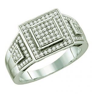 0.30 Carat (ctw) 10k White Gold Brilliant White Diamond Ladies Vintage Style Micro Pave Bridal Engagement Ring