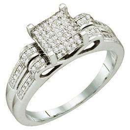 0.25 Carat (ctw) 10k White Gold Round White Diamond Ladies Micro Pave Bridal Engagement Ring