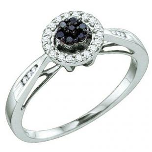 0.20 Carat (ctw) 10k White Gold Black & White Diamond Ladies Cluster Flower Engagement Ring