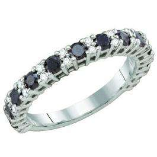 1.09 Carat (ctw) 10k White Gold Round Black & White Diamond Ladies Anniversary Wedding Stackable Ring Band