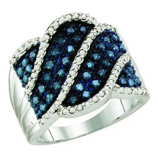 0.77 Carat (ctw) 10k White Gold Round Blue & White Diamond Ladies Right Hand Fashion Ring