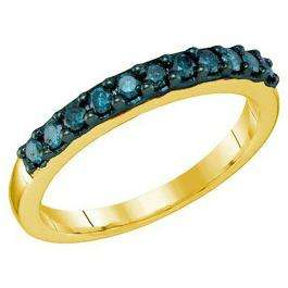 0.33 Carat (ctw) 10k Yellow Gold Round Blue Diamond Ladies Wedding Anniversary Stackable Band
