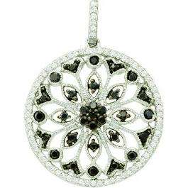 0.48 Carat (ctw) 14k White Gold Round Black & White Diamond Ladies Circle Pendant