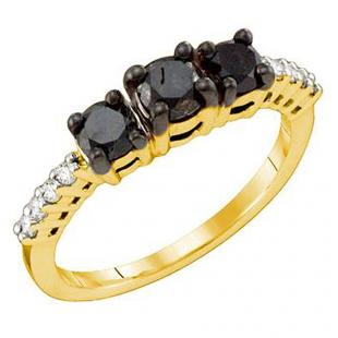 1.06 Carat (ctw) 10k Yellow Gold Black & White Diamond Ladies Bridal Three Stone Engagement Ring