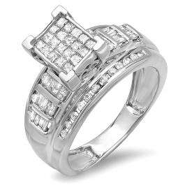 1.00 Carat (ctw) Sterling Silver Princess Round & Baguettes Cut Diamond Ladies Bridal Engagement Ring