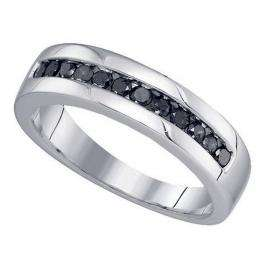 0.50 Carat (ctw) Sterling Silver Round Black Diamond Men's Channel Set Anniversary Wedding Band 1/2 CT