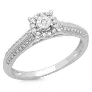 0.10 Carat (ctw) 10K White Gold Round Diamond Ladies Bridal Halo Style Cluster Promise Engagement Ring