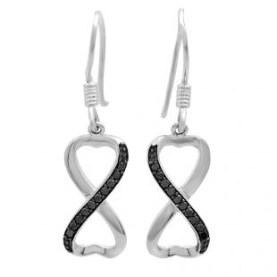 0.20 Carat (ctw) 10K White Gold Round Black Diamond Ladies Swirl Infinity Heart Shaped Dangling Earrings 1/5 CT
