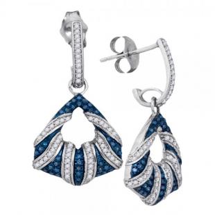 0.50 Carat (ctw) 10K White Gold Blue & White Diamond Ladies Micropave Fashion Drop Earrings 1/2 CT