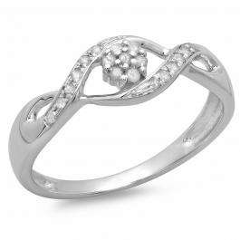 0.13 Carat (ctw) 10K White Gold Round Diamond Ladies Bridal Bypass Swirl Engagement Promise Ring