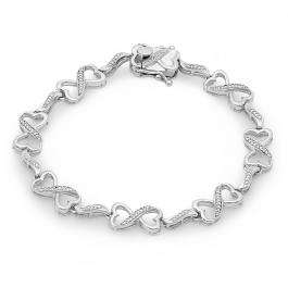 0.25 Carat (ctw) Sterling Silver Round Cut White Diamond Ladies Infinity Heart Tennis Link Bracelet 1/4 CT