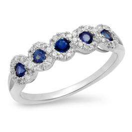 0.53 Carat (ctw) 10K White Gold Round White Diamond & Lab Created Blue Sapphire Ladies Bridal Stackable Anniversary Wedding Band Swirl Ring 1/2 CT