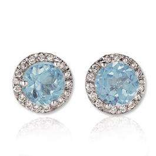 4.00 Carat (ctw) 14K White Gold Round Aquamarine & White Diamond Ladies Halo Style Stud Earrings 4 CT
