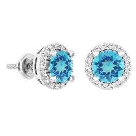 2.00 Carat (ctw) 10k White Gold Round Blue Topaz & White Diamond Ladies Halo Style Stud Earrings 2 CT