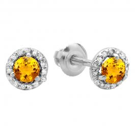 0.50 Carat (ctw) 10K White Gold Round Yellow Citrine & White Diamond Ladies Halo Style Stud Earrings 1/2 CT