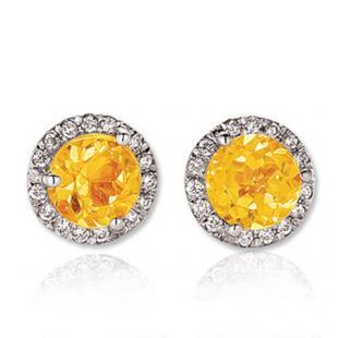 4.00 Carat (ctw) 14K White Gold Round Yellow Citrine & White Diamond Ladies Halo Style Stud Earrings 4 CT