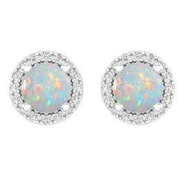 14K White Gold Round Opal & White Diamond Ladies Halo Stud Earrings