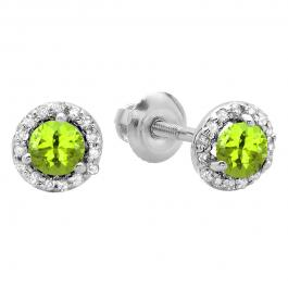 0.50 Carat (ctw) 14K White Gold Round Green Peridot & White Diamond Ladies Halo Style Stud Earrings 1/2 CT