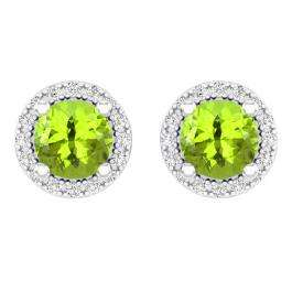 2.00 Carat (ctw) 10k White Gold Round Green Peridot & White Diamond Ladies Halo Style Stud Earrings 2 CT