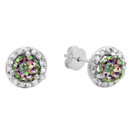 0.50 Carat (ctw) 14K White Gold Round Rainbow Topaz & White Diamond Ladies Halo Style Stud Earrings 1/2 CT