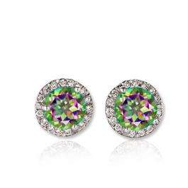 1.00 Carat (ctw) 14K White Gold Round Rainbow Topaz & White Diamond Ladies Halo Style Stud Earrings 1 CT