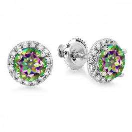 2.00 Carat (ctw) 14K White Gold Round Rainbow Topaz & White Diamond Ladies Halo Style Stud Earrings 2 CT