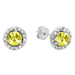 0.50 Carat (ctw) 14K White Gold Round Yellow Sapphire & White Diamond Ladies Halo Style Stud Earrings 1/2 CT