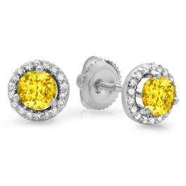 1.00 Carat (ctw) 14K White Gold Round Yellow Sapphire & White Diamond Ladies Halo Style Stud Earrings 1 CT