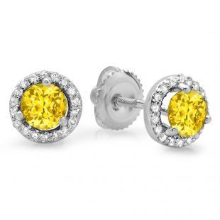 1.00 Carat (ctw) 14K White Gold Round Yellow Sapphire & White Diamond Ladies Halo Style Stud Earrings 1 CT