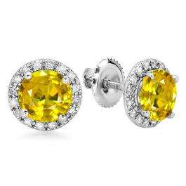 3.00 Carat (ctw) 14K White Gold Round Yellow Sapphire & White Diamond Ladies Halo Style Stud Earrings 3 CT