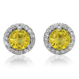 4.00 Carat (ctw) 18K White Gold Round Yellow Sapphire & White Diamond Ladies Halo Style Stud Earrings 4 CT
