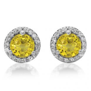 4.00 Carat (ctw) 18K White Gold Round Yellow Sapphire & White Diamond Ladies Halo Style Stud Earrings 4 CT