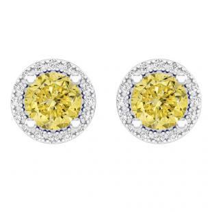 2.00 Carat (ctw) 14k White Gold Round Yellow Sapphire & White Diamond Ladies Halo Style Stud Earrings 2 CT
