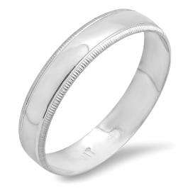10k White Gold Men's Ladies Unisex Ring Wedding Band 4MM Millgrain Edged Plain Shiny Polished Traditional Fit