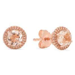 Rose Gold Plated Sterling Silver Round Cut Morganite Stud Earrings