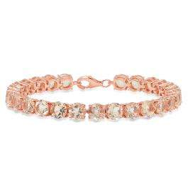 Rose Gold Plated Sterling Silver Round Cut Morganite Ladies Tennis Bracelet (7 Inch Length x 6.1 MM Wide)