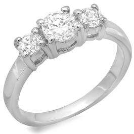 1.50 CT Platinum Plated Ladies Round Cubic Zirconia CZ Wedding Bridal Engagement Ring (Available in size 6 7 8)