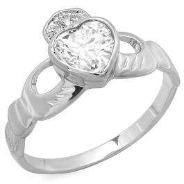 Platinum Plated Ladies Heart Shape Cubic Zirconia CZ Irish Friendship and Love Band Claddagh Ring (Available in size 6 7 8)