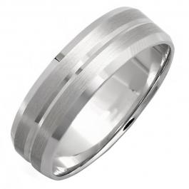 14k White Gold Mens Wedding Band Traditional Fit Grooved Brushed